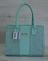 Молодежная каркасная женская сумка цвета ментол из кожзама 31204