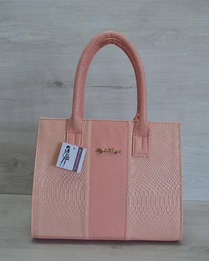 Молодежная каркасная женская сумка цвета пудра из кожзама 31203, фото 2