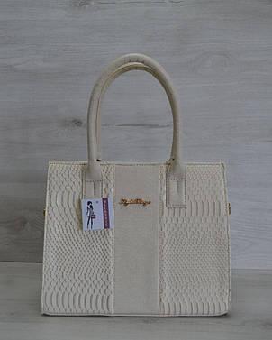 Молодежная каркасная женская сумка бежевого цвета из кожзама 31202, фото 2