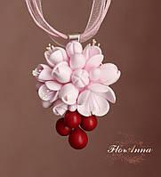 """Кулон из полимерной глины  """"Цвет вишни"""", фото 1"""