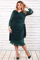 Платье 0715-3 зеленый большого размера 42-74 батал | Индивидуальный пошив