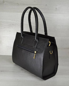 Молодежная каркасная женская сумка черного цвета из кожзама 31212, фото 2