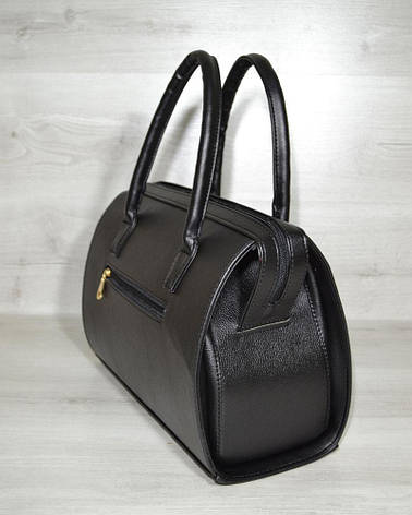 Каркасная стильная женская сумка Саквояж черный гладкий кожзам 31129, фото 2