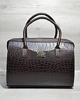 Каркасная стильная женская сумка Саквояж коричневый крокодил кожзам 31124
