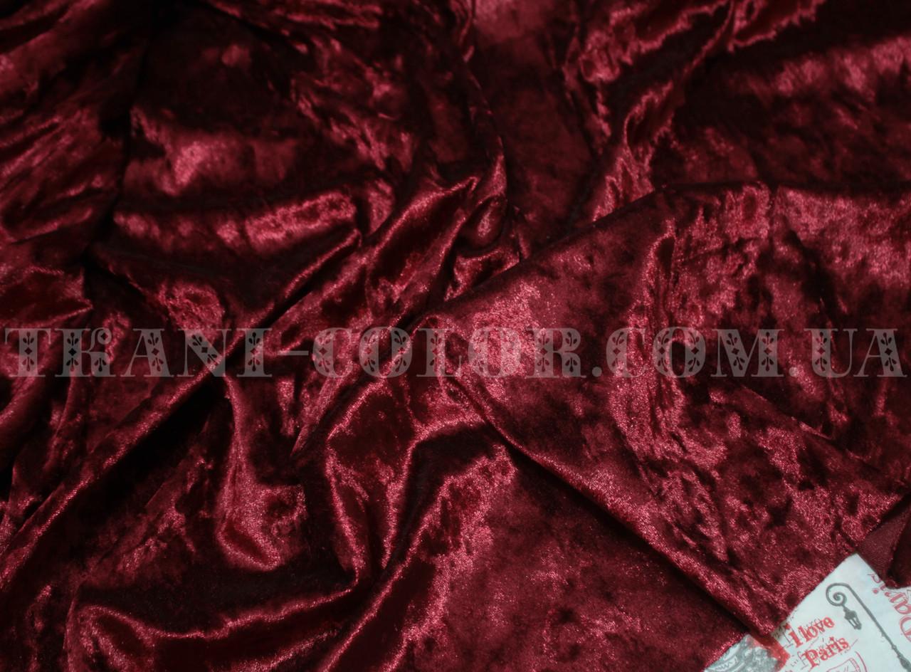 Ткань бархат-мрамор стрейчевый бордовый
