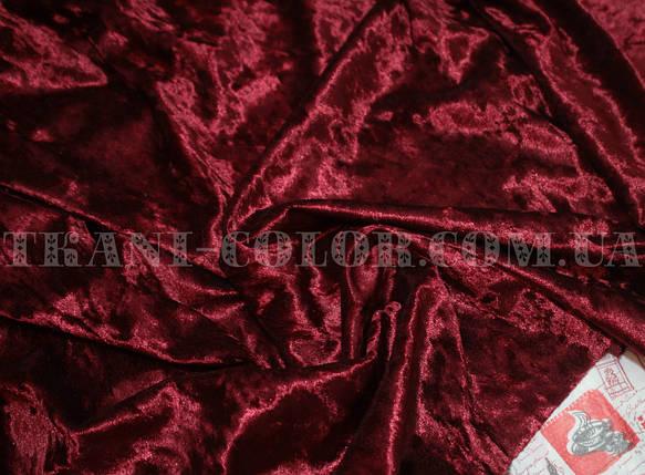 Ткань бархат-мрамор стрейчевый бордовый, фото 2