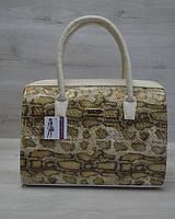 Каркасная стильная женская сумка Саквояж  золотая змея с бежевыми ручками из кожзама 31104