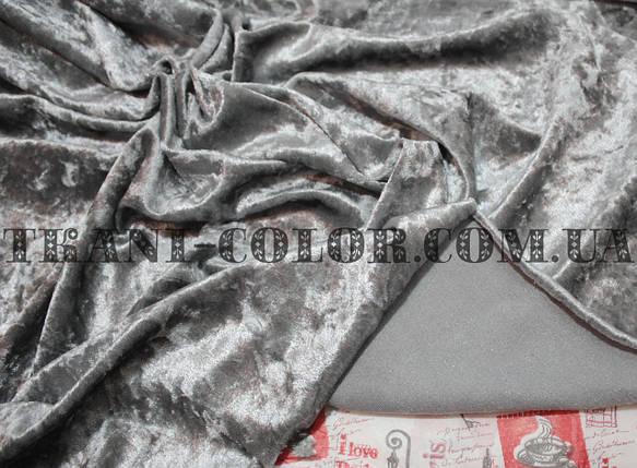 Ткань бархат-мрамор стрейчевый серый, фото 2
