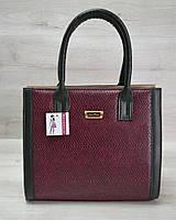Женская сумка Бочонок бордовая змея с зеленым гладким кожзамом 31603
