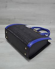 Женская сумка Бочонок черная рептилия с синим гладким кожзамом 31602, фото 2