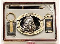 PN4-57046 Сувенирный набор MOONGRASS: зажигалка + пепельница + ручка + брелок,Подарочный набор,Презент мужчине