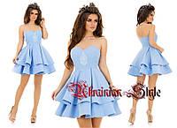 Короткое коктейльное гипюровое  платье с рюшами