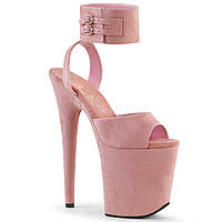 Замшевые розовые босоножки с фиксацией на щиколотке