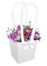 Паперова сумка-трапеція для букетів і горшкових квітів біла