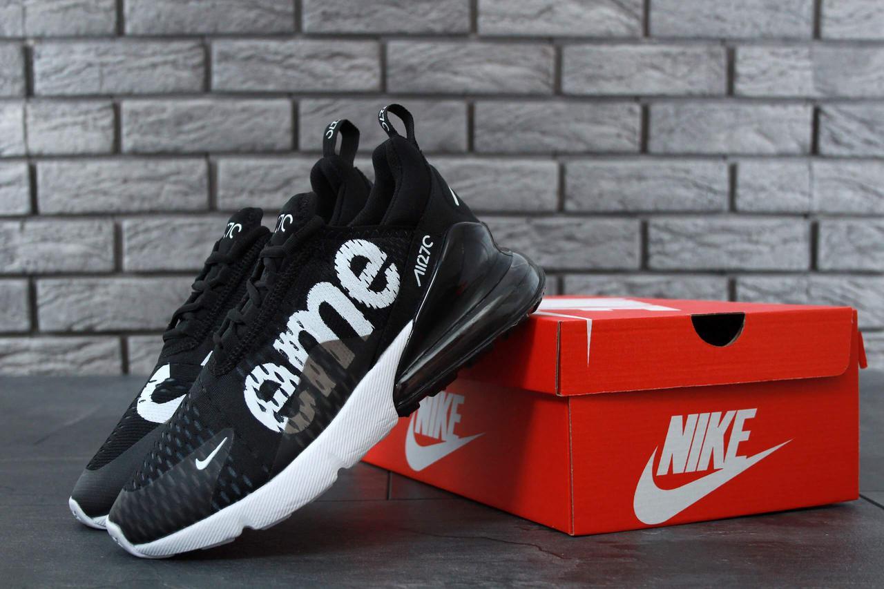 Кроссовки Nike Air Max 270 Supreme Black White (Найк Аир Макс 270 Суприм черно-белые)