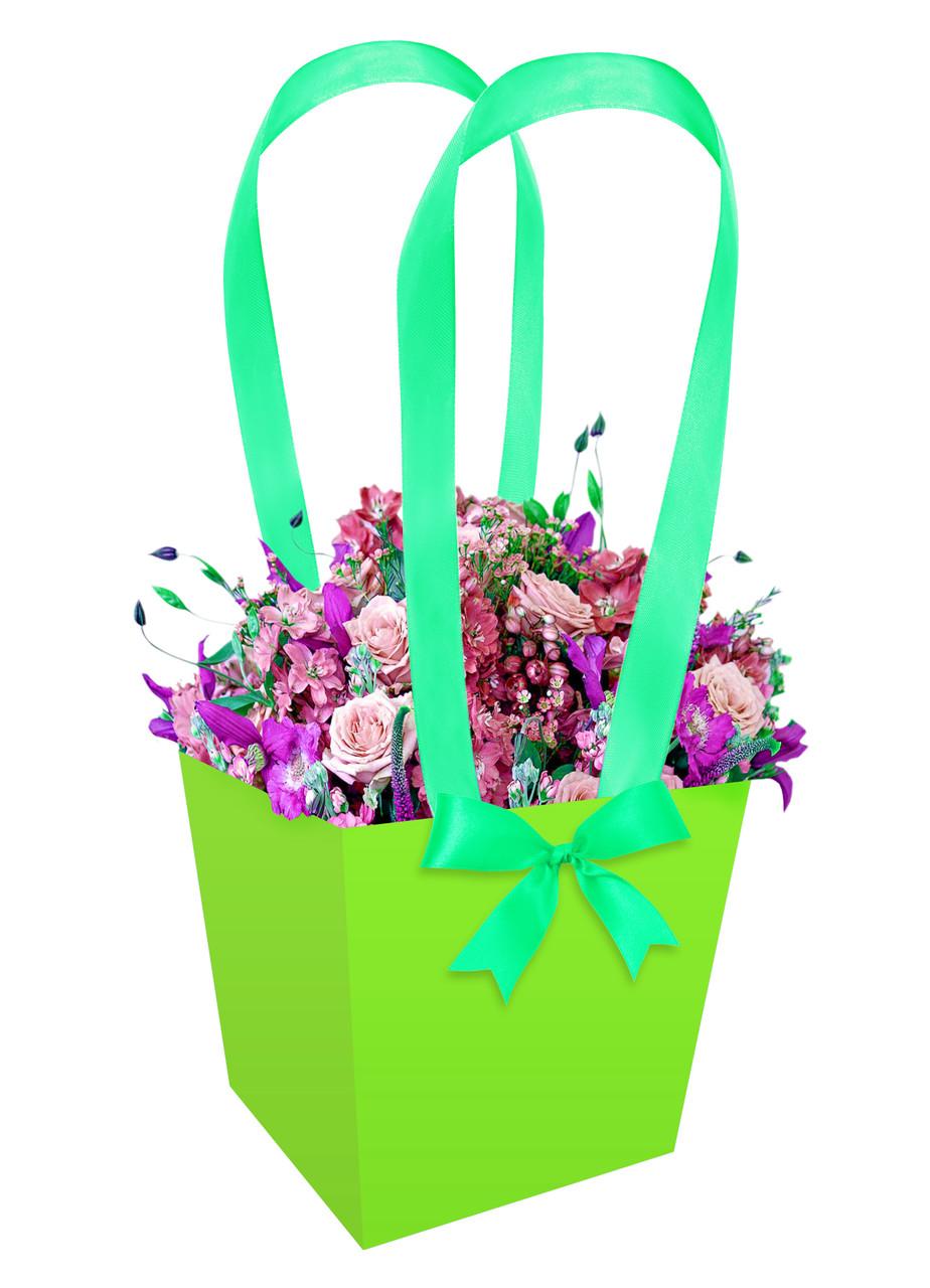 Паперова сумка-трапеція для букетів і горшкових квітів салатова