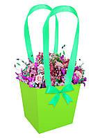 Бумажная сумка-трапеция для букетов и горшечных цветов салатовая