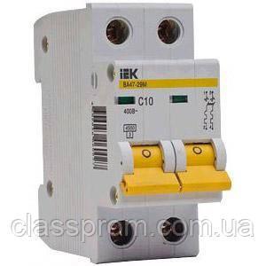 Автоматический выключатель ВА47-29 2P, 6 A, С IEK