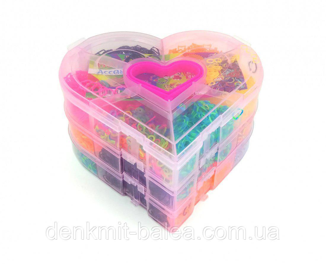 Набор резинок для плетения  Rainbow Loom 4500 шт  сердечко