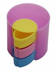 Подставка для ручек пластиковая 2169 микс (1 отделение + 3 полочки)