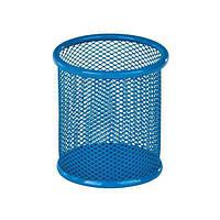Подставка-стакан для ручек металлическая сетка ZiBi синий круглый 90*90*100 мм.