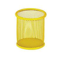 Подставка-стакан для ручек металлическая сетка ZiBi желтый круглый 90*90*100 мм.
