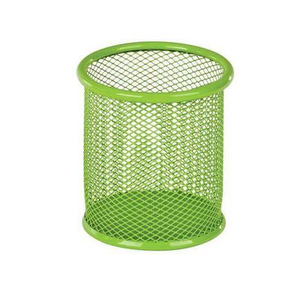 Подставка-стакан для ручек металлическая сетка ZiBi салатовый круглый 90*90*100 мм., фото 2