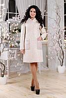 Женское демисезонное бежевое пальто В-1108 Cost Тон 87 44-54 размер