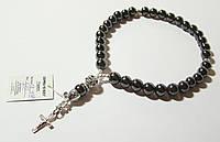 Дизайнерские четки из натурального гематита, крестик - серебро 925 пробы: сильнейший оберег, камень-доктор