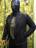 Куртка флисовая с накладками под рукавами, воротнике и плечах milt-11 синего цвета, фото 3