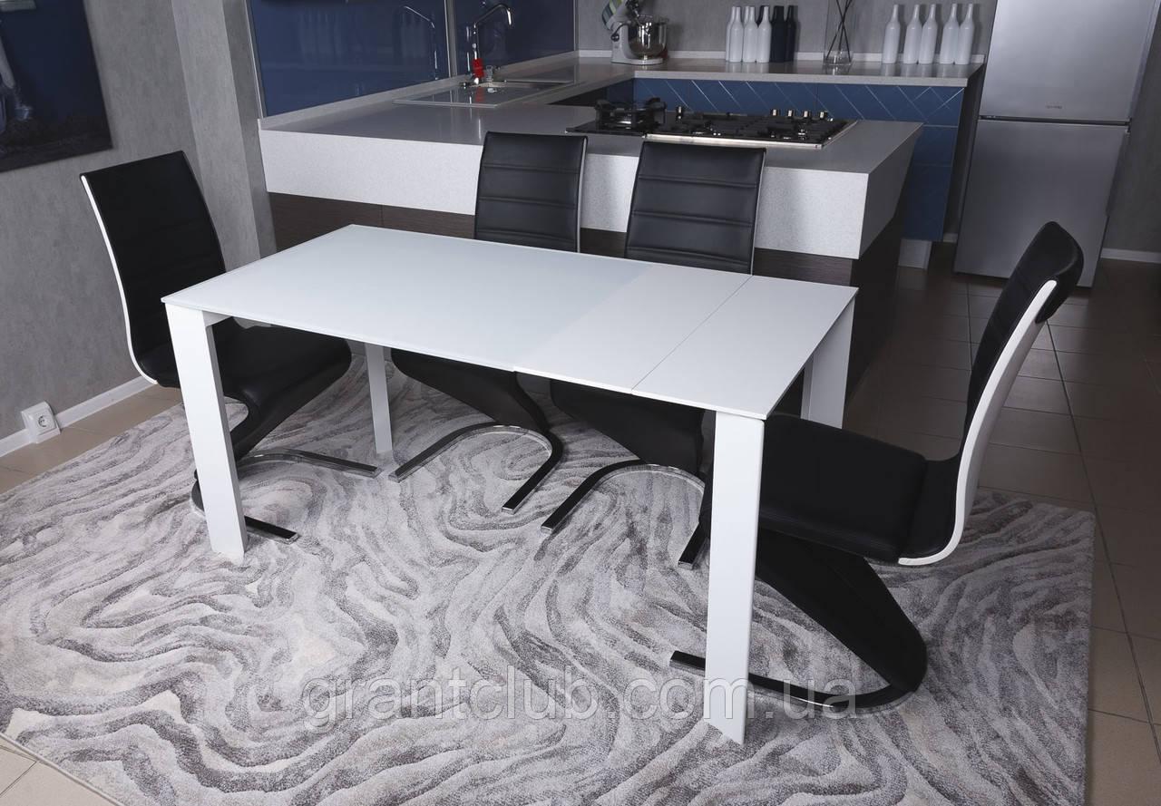 Стеклянный раздвижной кухонный стол BRISTOL B (130/200*85 см) белый Nicolas