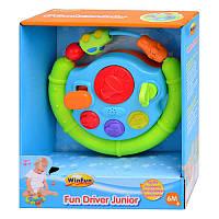 Детский руль Развивающая игрушка Автотренажер для малышей, со съемной коробкой передач, муз, свет, WinFun 0705