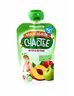"""Пюре Фруктове в м'якій упаковці, Яблуко-Персик, 90г, від 5 міс., ТМ""""Маленьке щастя"""""""