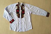 Рубашка  мужская комбинированная ,воротник стойка