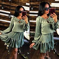 Женское короткое летнее шелковое платье Марго в расцветках
