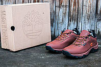 Мужские зимние кроссовки с мехом Timberlend коричневые (реплика)