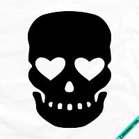 Термопереводки, латки на жилеты Череп кости [7 размеров в ассортименте] (Тип материала Матовый)