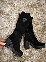 Женские зимние сапоги на каблуке замшевые черные, размер 36-40