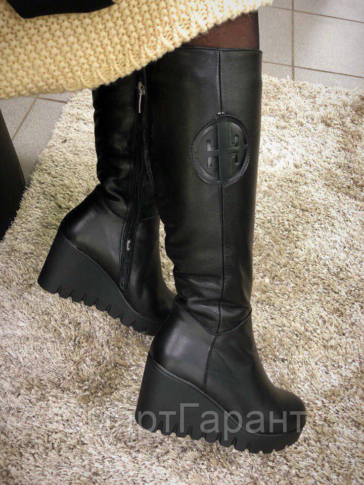 dc1169568 Женские зимние сапоги Torry на танкетке кожаные черные, размер 36-41 ...