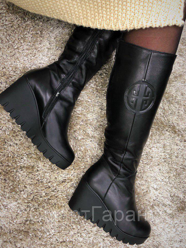 43fedd1d8 ... Женские зимние сапоги Torry на танкетке кожаные черные, размер 36-41,  ...