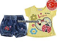 Детские летние костюмы оптом из Турции. Костюм для девочки 1,2,3 года
