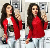 Новинка весны!  модная короткая стеганная куртка на кнопках красный 42 44 46 48, фото 1