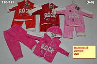 Детская одежда оптом из Турции. Велюровый костюмчик для девочки утепленный
