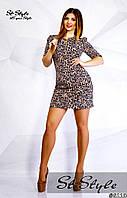 Платье с поясом из эко-кожи, больших размеров  арт 46777-32