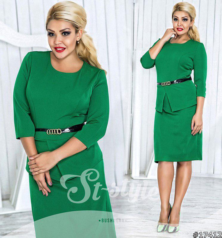 Платье больших размеров  48+ с баской  рт 561-29/41