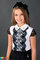 Нарядная школьная блузка MONE 1629-2, цвет белый с черным р.146 - примерить