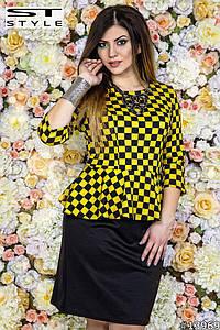 Платье больших размеров  48+ с баской, желтая клетка  рт 535-40/41