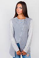 Куртка-свитер женская стильная приталенная  434K004 (Светло-серый)