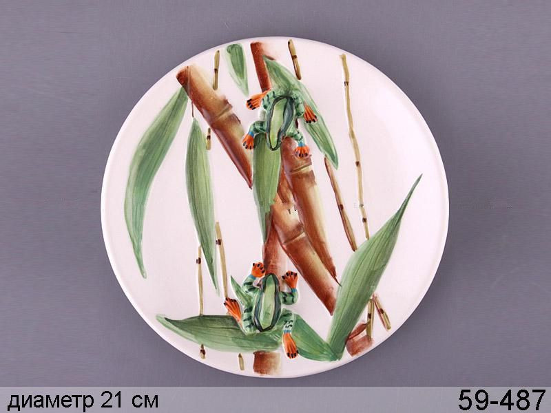 Декоративна Жаба на бамбуку 21 см 59-487