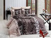 Комплект постельного белья R7085 brown двуспальный евро ранфорс
